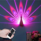 Hlidpu Night Light Peacock Projector Lamp Smart Touch Dimmable LED Light with Remote Control Wall Lamp 7 Colors Changeable Christmas Decorations for Home Baby Nursery Kids,Pink