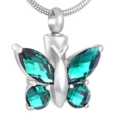(Butterfly Urn Necklace for Ashes (Green) - Cremation Jewelry Memorial Keepsake Pendant - Funnel Kit Included)