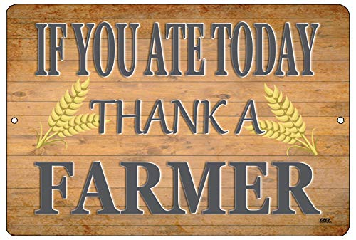 Rogue River Tactical Farm Metal Tin Sign Ranch Kitchen Wall Decor Country Rustic If You Ate Today Thank A Farmer
