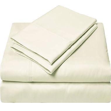 SGI bedding Full XL Size Sheets Luxury Soft 100% Egyptian Cotton - Sheet Set for Full XL Size 54x80 Mattress Ivory Solid 600 Thread Count Deep Pocket