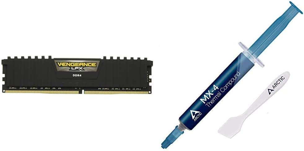 Corsair Vengeance LPX 64GB (2X 32GB) DDR4 3200(PC4-25600) C161.35V Desktop Memory -Black & Arctic MX-4 - Thermal Compound Paste for Coolers | Heat Sink Paste - 4 Grams