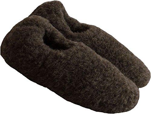 SamWo Schafwoll-Wohlfühl-Hausschuhe/Pantoffeln Unisex,Weiche Rutschfeste Sohle,100% Schafwolle,Größe:35-48 Braun