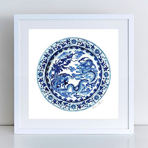 Blue and White China Plate 8 Ginger Jar Art Ginger Jar Print Chinese Decor Chinoiserie Art Asian Wall Art Decor Chinese Dragon Art Watercolor Painting Canvas Art Print Unframed ()