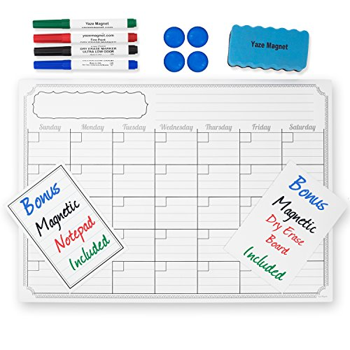 "Monthly Magnetic Calendar for Refrigerator | 17""X12"" 