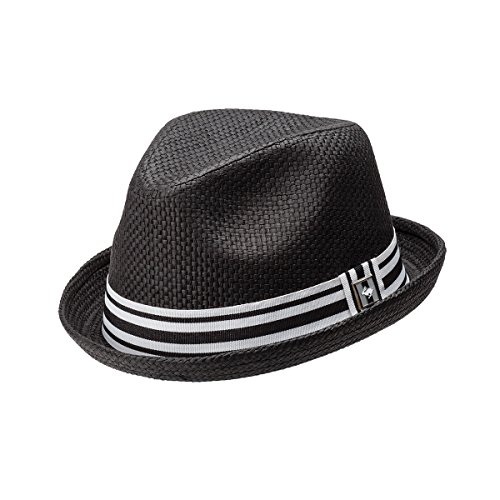 - Peter Grimm Depp Natural Straw Fedora - Black (S/M)