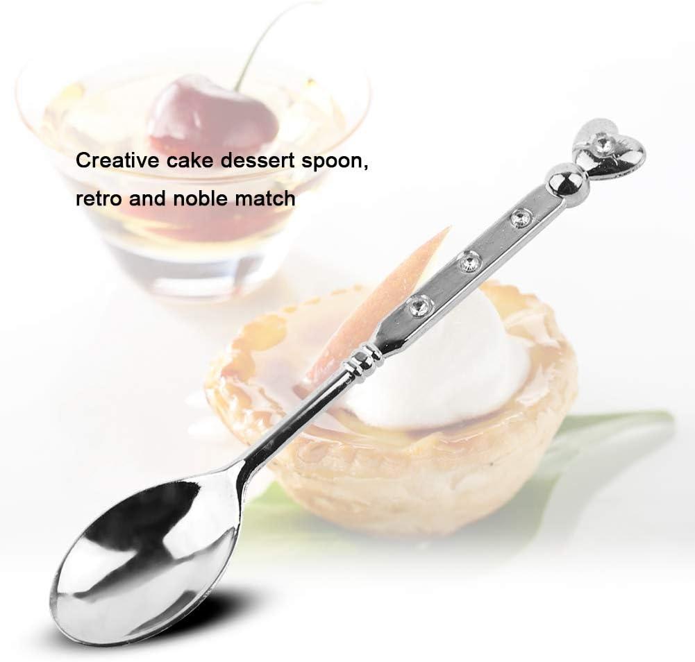 Cuill/ère /à caf/é argent cuill/ère /à dessert en forme de coeur vintage /à la mode en forme de c/œur et m/élange de cr/ème glac/ée au sucre