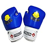 Kids Boxing Gloves, Pu Kids Children Cartoon Sparring Boxing Gloves Training Age 5-12 Years (Blue)