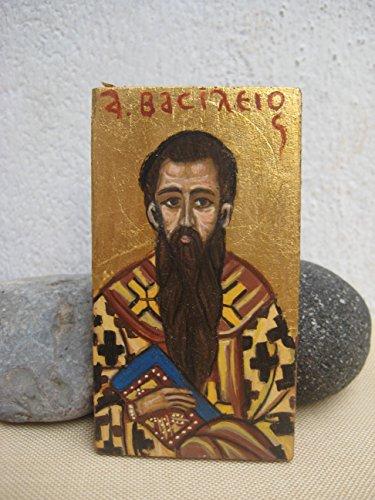 Saint Basil the Great hand painted mini orthodox icon keepsake egg tempera on wood