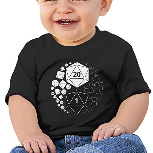 MONIKAL Unisex Infant Short Sleeve T-Shirt Dungeons Dragons Yin Yang Toddler Kids Organic Cotton Graphic Tee Tops Black