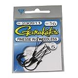 Gamakatsu Finesse Wide Gap Weedless Hook-5 Per Pack (Black, 2/0)
