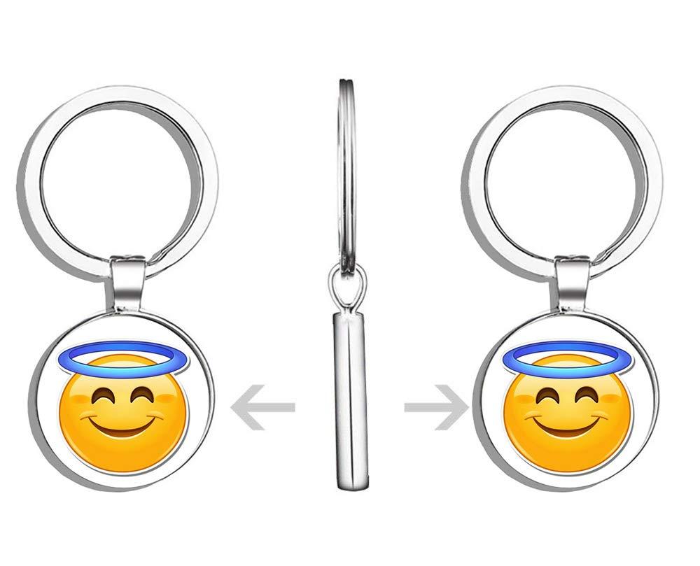 Amazon com: HJ Media Angel Emoji Metal Round Metal Key Chain