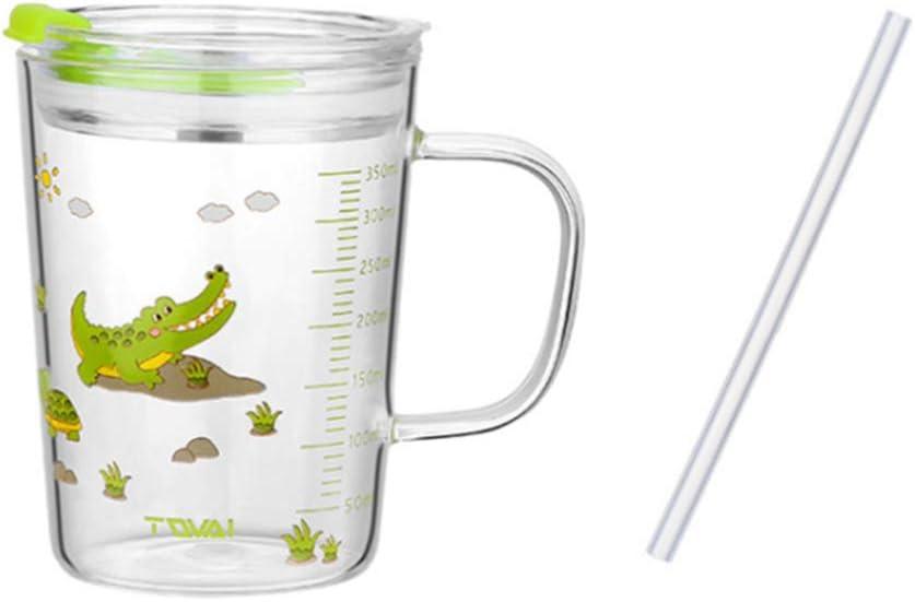 UPKOCH Vaso de Agua de Vidrio para Niños Vaso de Leche a Prueba de Fugas Impresión de Dibujos Animados con Escala de Mango Paja de Silicona (Color de Tapa Aleatorio de Cocodrilo 350 Ml)
