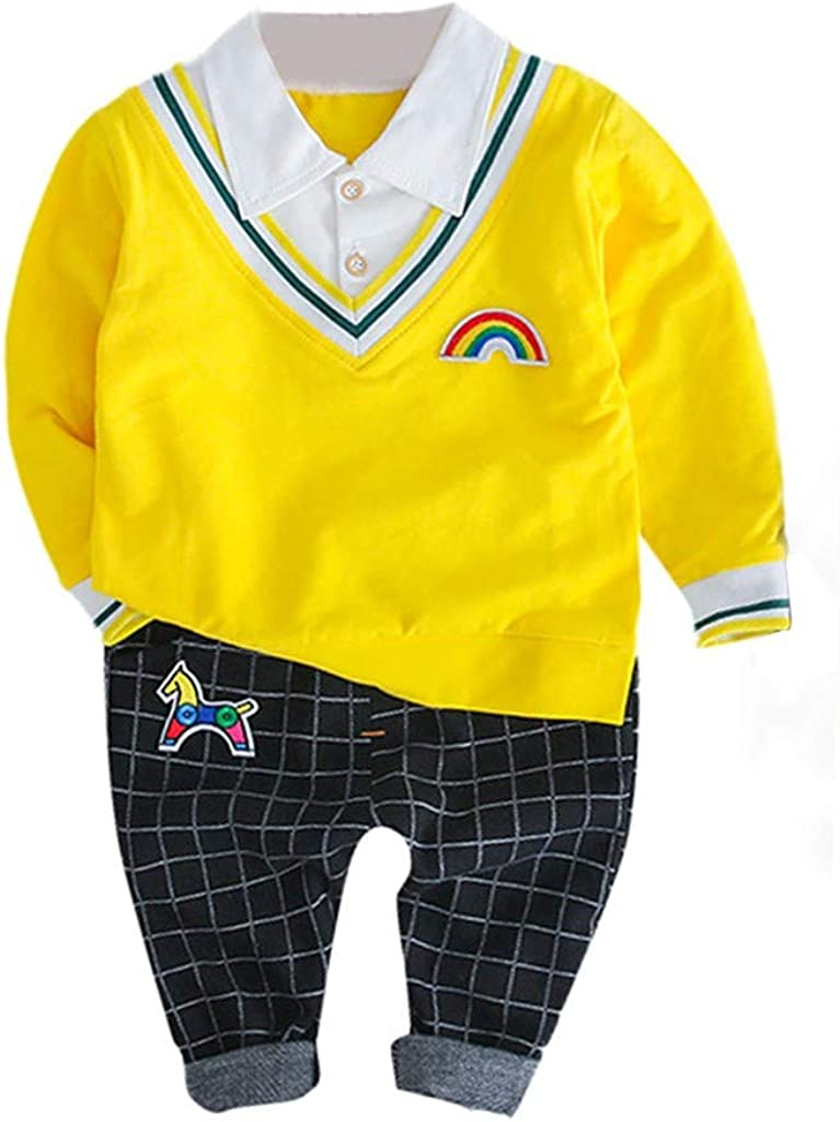 Baby Toddler Boys Spring Outfits Clothes 1-3 Years Old Long Sleeve Gentleman T-Shirt Tops Plaid Pants Sets
