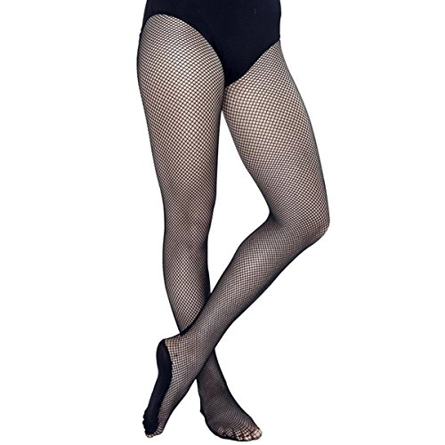 Pitping Professional Latin Dance Pantyhose Stockings Socks Fishnet Seamless Tights Dancing Race (M, Black)