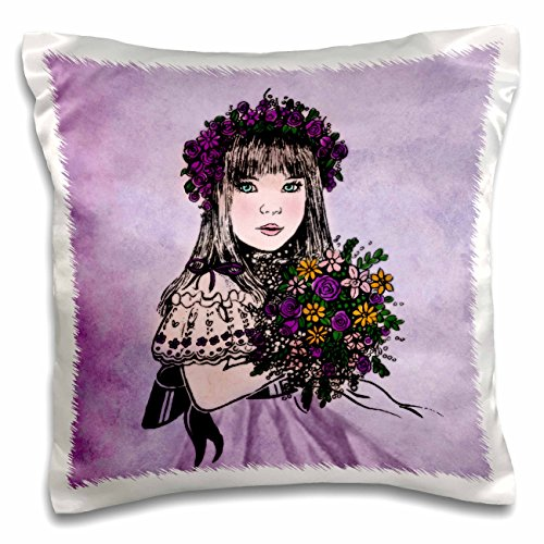 Doreen Erhardt Wedding Collection - Vintage Flower Girl in a Purple Dress with Floral Bouquet - 16x16 inch Pillow Case (pc_164745_1)