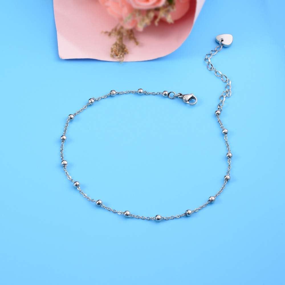 Sterling Silver Anklets Dainty Boho Beach Cute Foot Ankle Bracelet Adjustable Bead Heart Anklet for Women Girlfriend