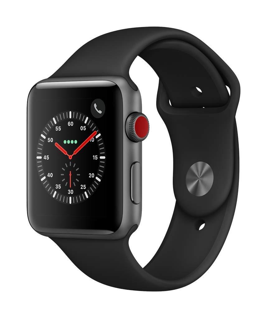 Apple Watch Series 3(GPS + Cellularモデル)- 42mmスペースグレイアルミニウムケースとブラックスポーツバンド