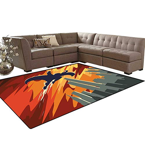 Vintage Door Mats Area Rug Silhouette of a Superhero Over Apartments in Sky Night Fiction Comic Image Anti-Skid Area Rugs 6'x9' Red Orange Grey