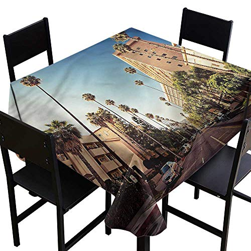 (Anshesix Washable Table Cloth Urban Beverly Hills Street View and Durable W63 xL63 Washable Polyester - Great for Buffet Table, Parties, Holiday Dinner, Wedding & More)