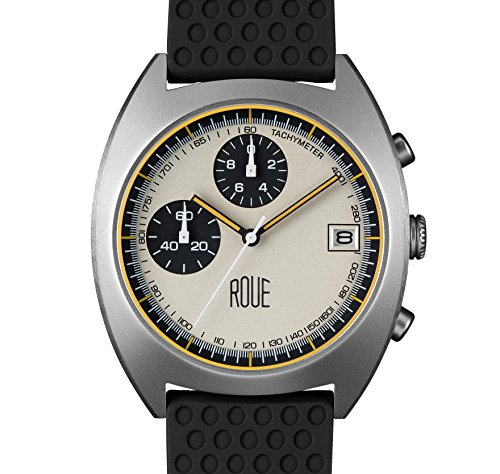 ROUE CHR Three Chronograph Watch, 1970s Racing Style, 41.5mm Sand Blasted Stainless Steel case, Silicone + Soft Leather Straps, Sapphire Crystal with anti-reflective treatment - 1970 Glasses