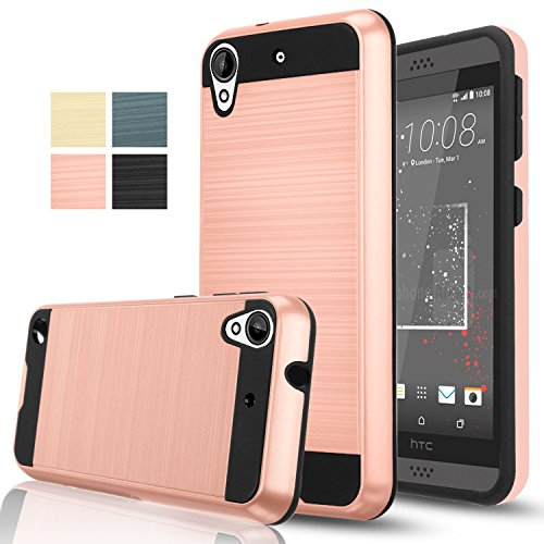 HTC Desire 530/ HTC Desire 630 Case With HD Screen Protector , Aomax Hard Silicone Rubber Hybrid Armor Shockproof Protective Holster Cover Case For HTC 530U (VLS ARMOR Rose Gold)