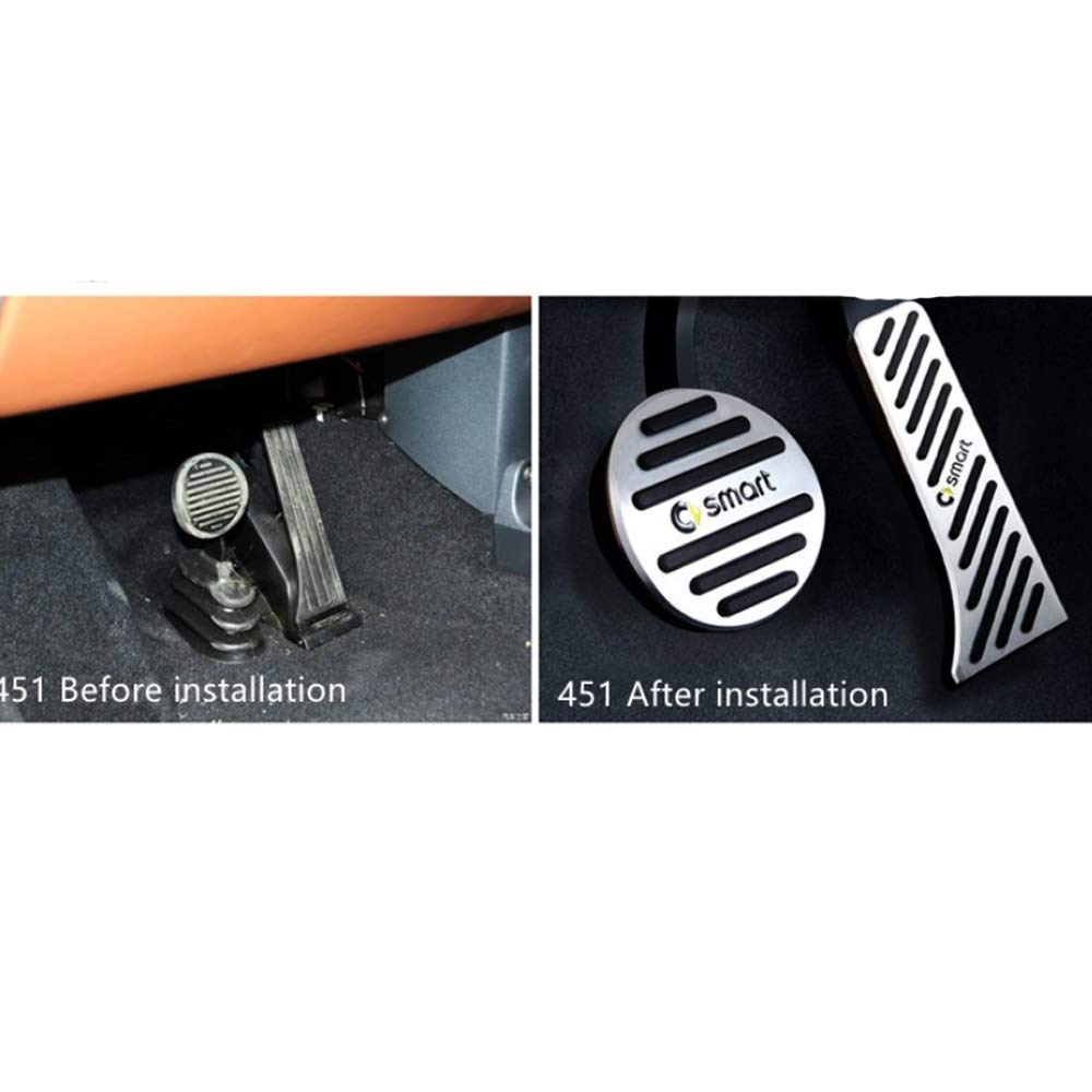 No drill Fuel Brake Foot Rest pedal Cover Pad For Smart Fortwo 451 2007-2014