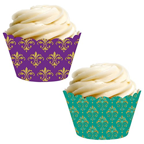 Andaz Press Party Cupcake Wrapper Decorations, Mardi Gras Themed Purple and Aqua Fleur De Lis, 24-Pack, Theme Colored Bulk Cake Supplies