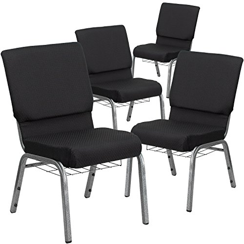Flash Furniture 4 Pk. HERCULES Series 18.5''W Church Chair in Black Patterned Fabric with Cup Book Rack - Silver Vein Frame