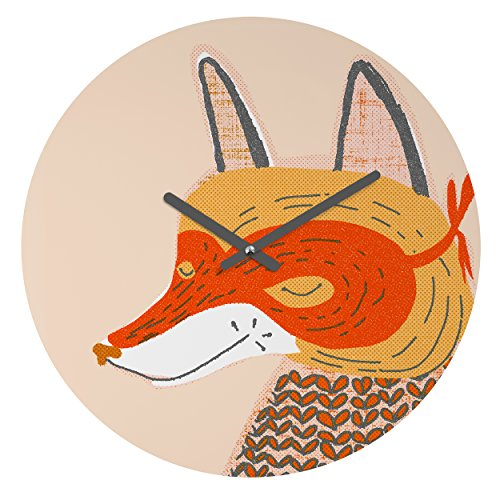 Deny Designs Mummysam,  Mr Fox, Round Clock, Round, 12'' by Deny Designs