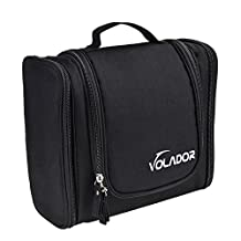 Travel Hanging Toiletry Bag, VOLADOR Travel Personal Organizer Cosmetic Carrying Case Large Capacity Wash Bag with Hanging Hook (Black)