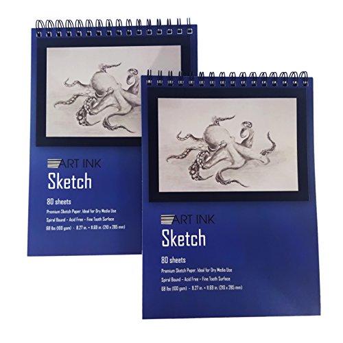 (2 Pack Sketch PAD, 160 Sheets, 8.3