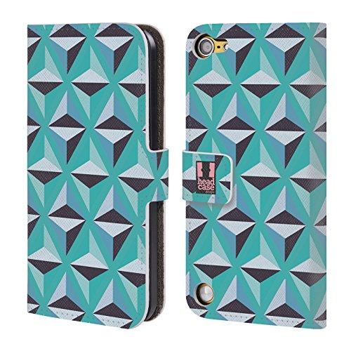 Head Case Poligoni Blu Stampe Ottiche Geometriche Cover telefono a portafoglio in pelle per Apple iPod Touch 5G 5th Gen / 6G 6th Gen