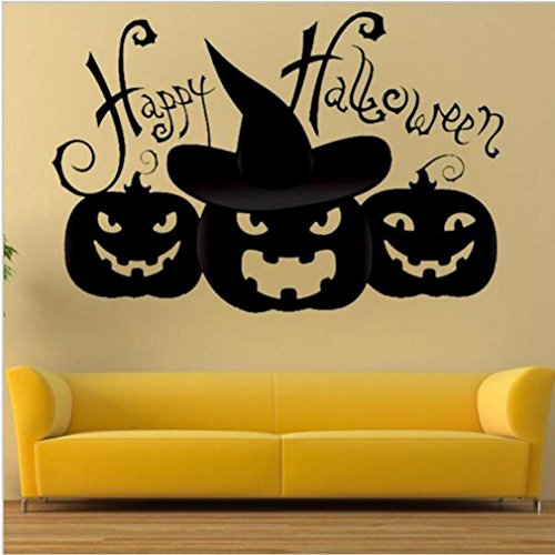 Halloween Wall Sticker, DKmagicHappy Halloween Household Room Mural Decor Decal Removable 2017 New (A)]()