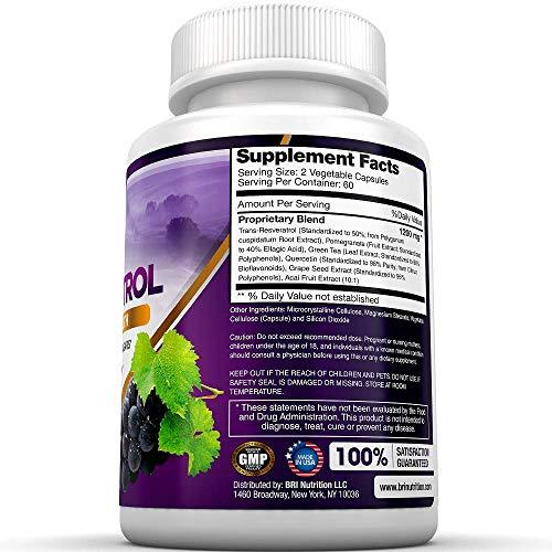 51xKYRkZ8HL - BRI Resveratrol - 1200mg Maximum Strength Natural Antioxidant Supplement for Longevity Premium, Ultra Pure Veggie Caps Promote Healthy Heart and Brain Function and Immune System Health (120 Capsules)