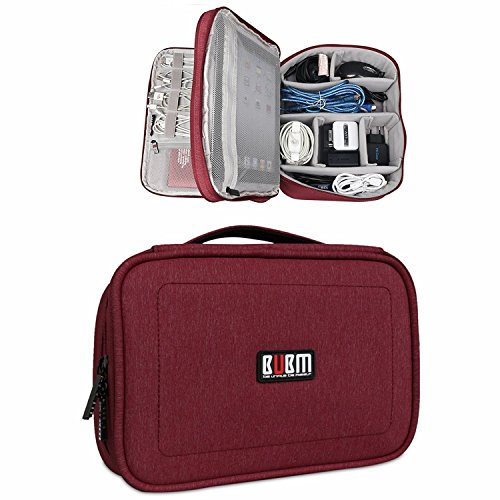 BUBM DPS-L RED Portable Travel Gadget Organizer Double Layers Electronics Accessories Bag Data Wire Storage Package (Red,Large)