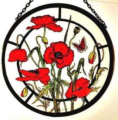 Decorative Hand Painted Stained Glass Window Sun Catcher Roundel in a Meadow Poppies Design.