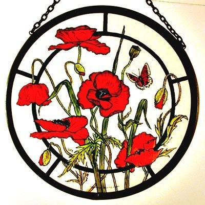 Decorative Hand Painted Stained Glass Window Sun Catcher/Roundel in a Meadow Poppies Design. Meadowpoppiesround