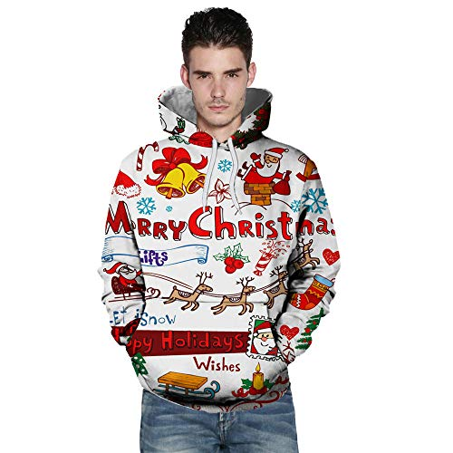 BHYDRY Lover Sweatshirt Casual Autumn Winter Christmas Printing Long Sleeve Hoodies White-a