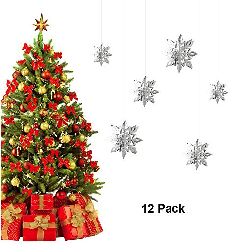 - Christmas Snowflake Decorations 3D Snowflake Hanging Garland Banner Xmas Tree Ornament Large Snowflake Party Decor Kit for Wedding Birthday Holiday New Year Party Photo Booth Props 12 Pack Silver