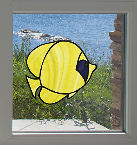 Tropical Fish - Bluecheek Butterflyfish - Stained Glass Style - See-Through Vinyl Window Decal - Copyright Yadda-Yadda Design Co. (SIZE CHOICES) (MD 5.6