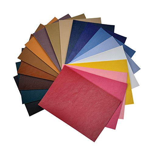 Double Sided Litchi Grain Texture Synthetic Faux Leather Fabric Sheets 18 Pieces A5 Size 8