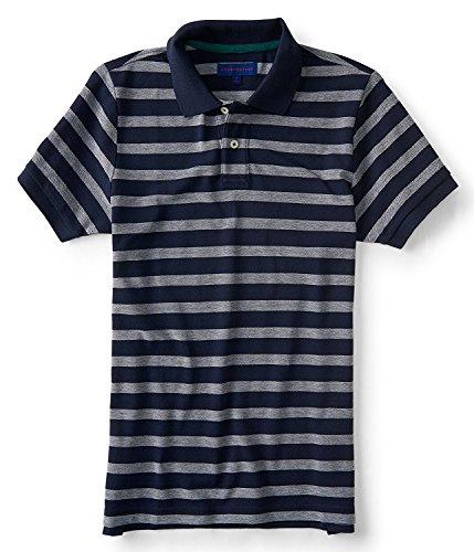 Aeropostale Men's Polo Shirt Stripped No Logo (Medium, (Aeropostale Mens Polo Shirt)