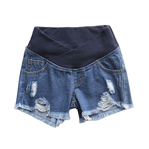 Women's Low Rise Wide Elastic Band Waist Pregnant Denim Shorts Maternity Short Jeans Blue Tag XXL-US 8 ()