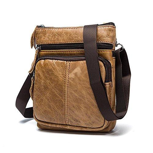 Penao Messenger Bags Zipper Bag Men Leather Yellow-brown