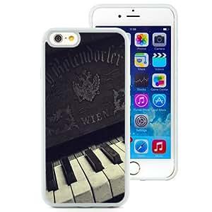 Unique TPU Phone Case Old Piano Keyboard Closeup iPhone 6 4.7 inch Wallpaper in White