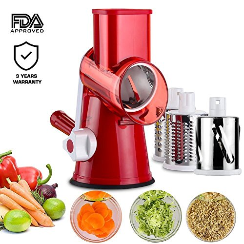 Chopper,Upintek 3-Blades Manual Vegetable Slicer,Efficient and Fast Vegetable Fruit Cutter Cheese Shredder, Speedy Rotary Drum Grater Slicer with Strong-Hold Suction Cup(Red) (Slicer Grater)