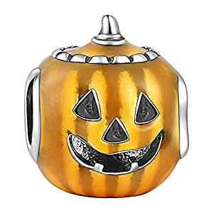 "SOUFEEL ""Happy Halloween Pumpkin Lantern Charm 925 Sterling Silver Charms for Bracelets"