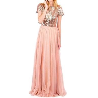 Honey qiao rose gold bridesmaid dresses short sleeves two pieces honey qiao rose gold bridesmaid dresses short sleeves two pieces sequins tank tulle skirt junglespirit Image collections
