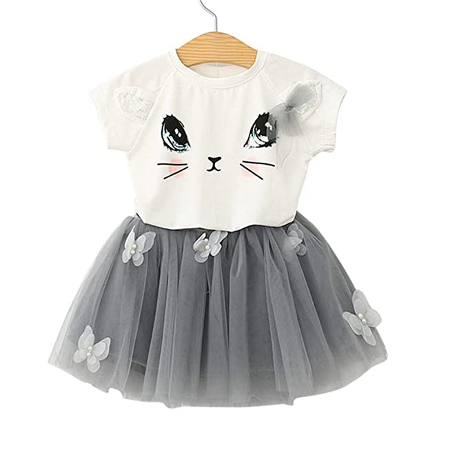 f7be34248310 Amazon.com  FAVOLOOK 2PCS Lovely Baby Girls Outfits Clothes Kids Cute Cat  print T-shirt Tops+ Tutu Dress Skirt Toddler Sets  Clothing