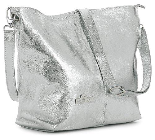 LiaTalia Womens Genuine Italian Leather Medium Hobo Shoulder Bag with Protective Storage Bag - Adal [Metallic - Silver] - 1 Silver Handbag